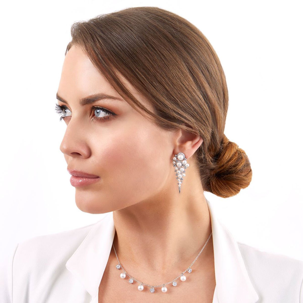 Raindrop Akoya Pearl and Diamond Earrings