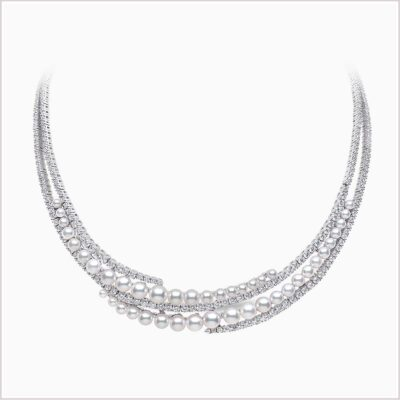 Yoko London Raindrop Diamond and Akoya Pearl Necklace