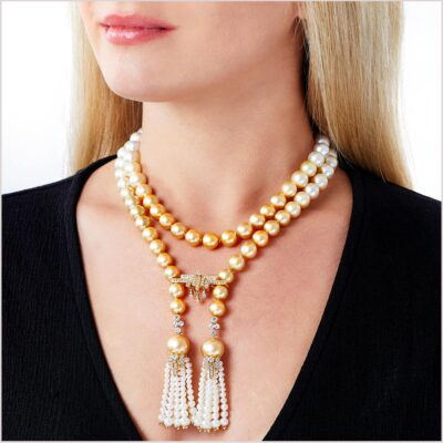 Yoko London Tassel Diamond, South Sea Pearl and Freshwater Pearl Necklace