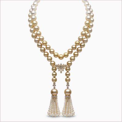 Yoko London Tassel Diamond, Golden South Sea, South Sea & Freshwater Pearl Necklace