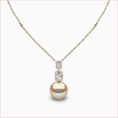 Yoko London Starlight Diamond and Golden Golden South Sea Pearl Necklace