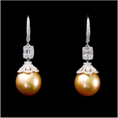 "<span id=""product-title"">STARLIGHT </span><br><span id=""product-description"">GOLDEN SOUTH SEA PEARL AND DIAMOND EARRINGS IN 18CT WHITE GOLD</span>"