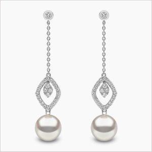 Yoko London Trend Freshwater Diamond and Freshwater Pearl Earrings