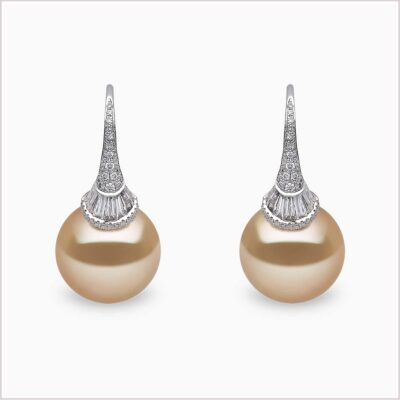 Yoko London Starlight Diamond and Golden South Sea Pearl Earrings