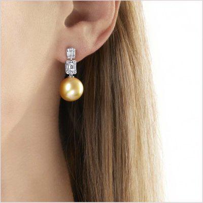 Yoko London Starlight Diamond and Golden South Sea Pearl Earrings