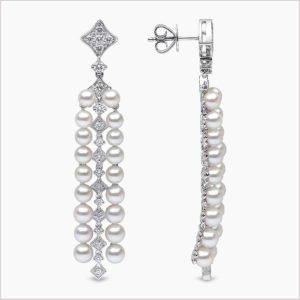 Yoko London Raindrop Diamond and Akoya Pearl Earrings