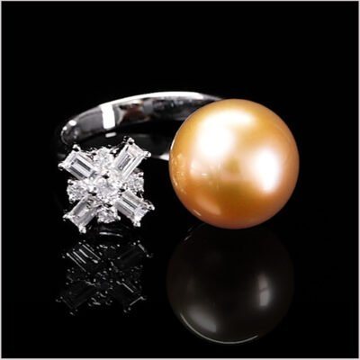 """<span id=""""product-title"""">STARLIGHT </span><br><span id=""""product-description"""">GOLDEN SOUTH SEA PEARL AND DIAMOND RING IN 18CT WHITE GOLD</span>"""