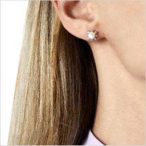 Yoko London Trend Diamond and Freshwater Pearl Stud Earrings