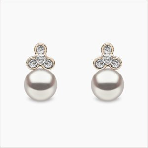 Yoko London Diamond and Freshwater Pearl Stud Earrings