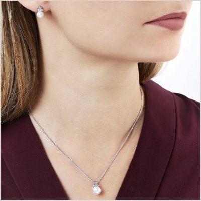 Yoko London Trend Diamond and Freshwater Pearl Pendant