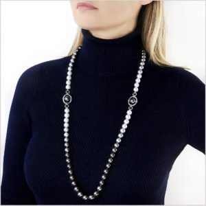 Ombré Diamond, Tahitian Pearl and South Sea Pearl Necklace
