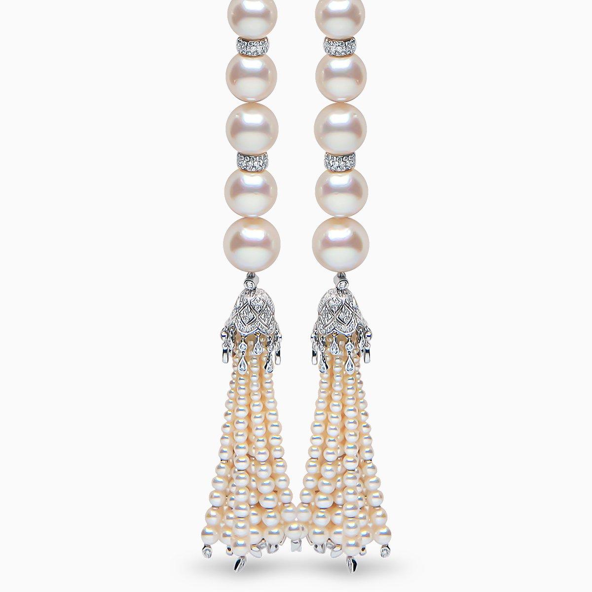 Yoko London Tassel Diamond, Freshwater Pearl and South Sea Pearl Necklace