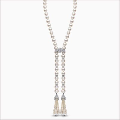Yoko London Tassel Diamond, Freshwater Pearl and South Sea Pearl Necklace