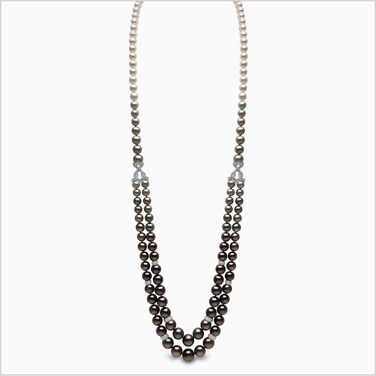 Yoko London Ombré Diamond, Tahitian Pearl and Akoya Pearl Necklace