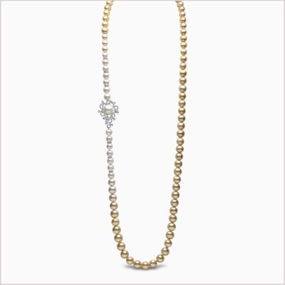 Yoko London Ombré Diamond, Akoya Pearl, South Sea Pearl and Golden South Sea Pearl Necklace
