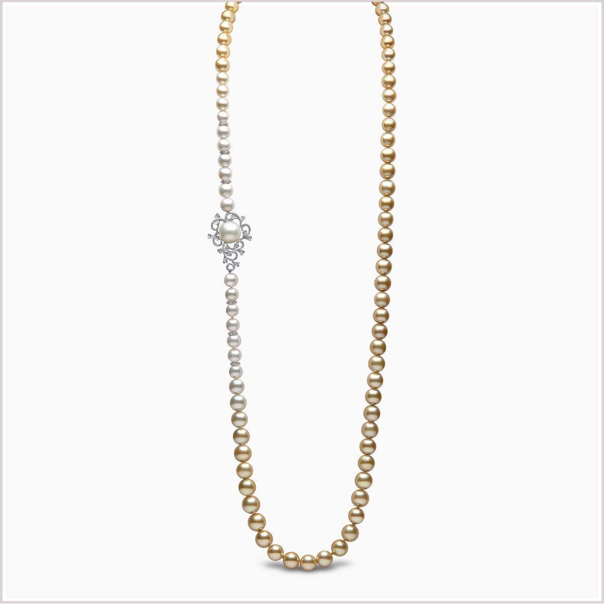 Yoko London Ombré Diamond, Akoya Pearl, South Sea Pearl and Golden South Sea Pearl Necklace