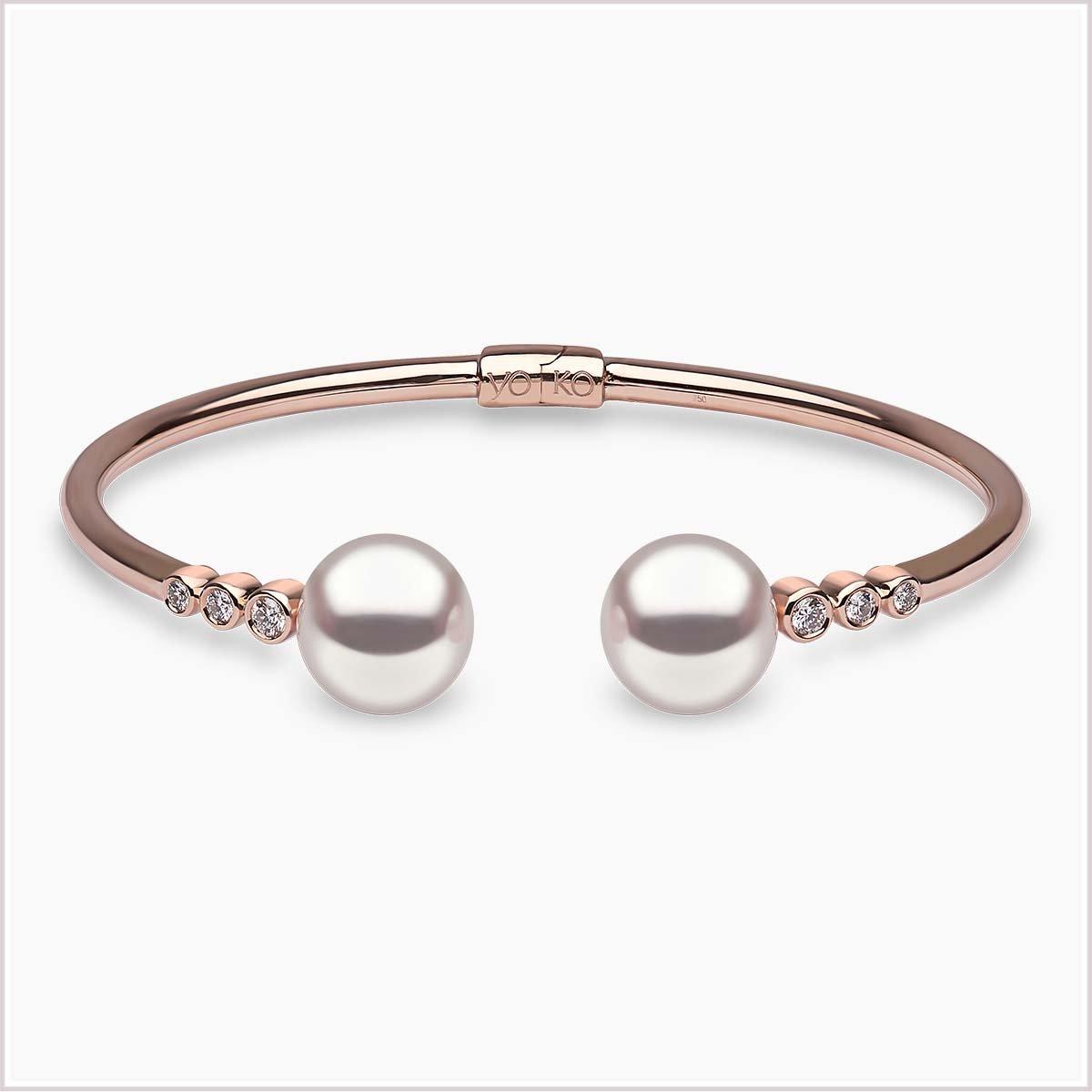 Yoko London Novus Diamond and Pearl Bracelet