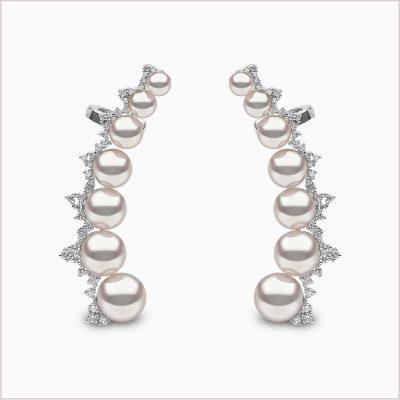 Yoko London Novus Diamond and Akoya Pearl Ear Climbers