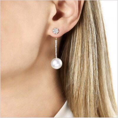 Yoko London Novus Diamond and South Sea Pearl Earrings