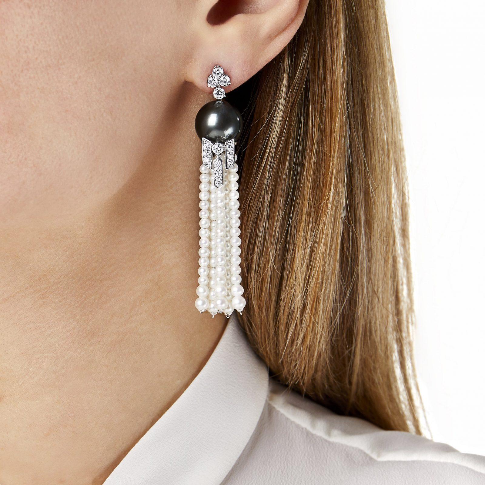 Tassel Diamond, Freshwater Pearl & Tahitian Pearl Earrings