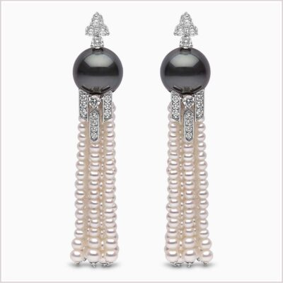 Yoko London Tassel Diamond, Freshwater Pearl and Tahitian Pearl Earrings
