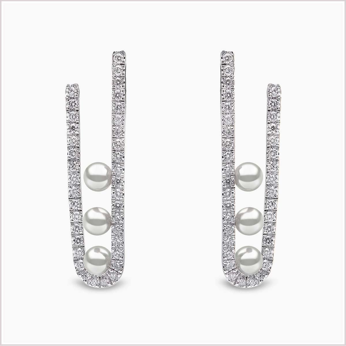 Yoko London Sleek Diamond and Akoya Pearl Earrings