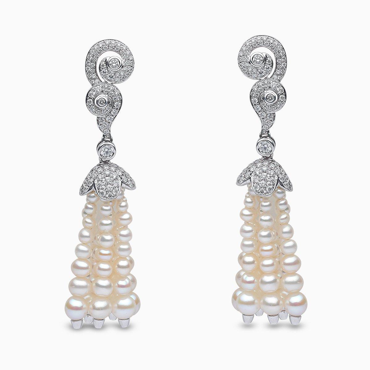 Yoko London Tassel Diamond and Freshwater Pearl Earrings