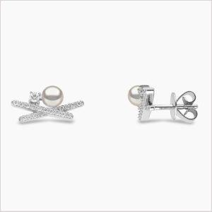 Yoko London Sleek Diamond and Akoya Pearl Stud Earrings