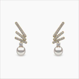 Yoko London Sleek Diamond and Akoya Pearl Stud Earrings