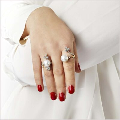 Yoko London Diamond and South Sea Pearl Ring