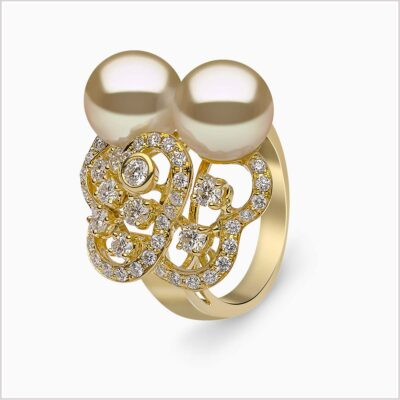 Yoko London Aurelia Diamond and Golden South Sea Pearl Ring