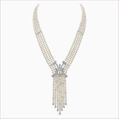 Yoko London Tassel Diamond and Freshwater Pearl Necklace