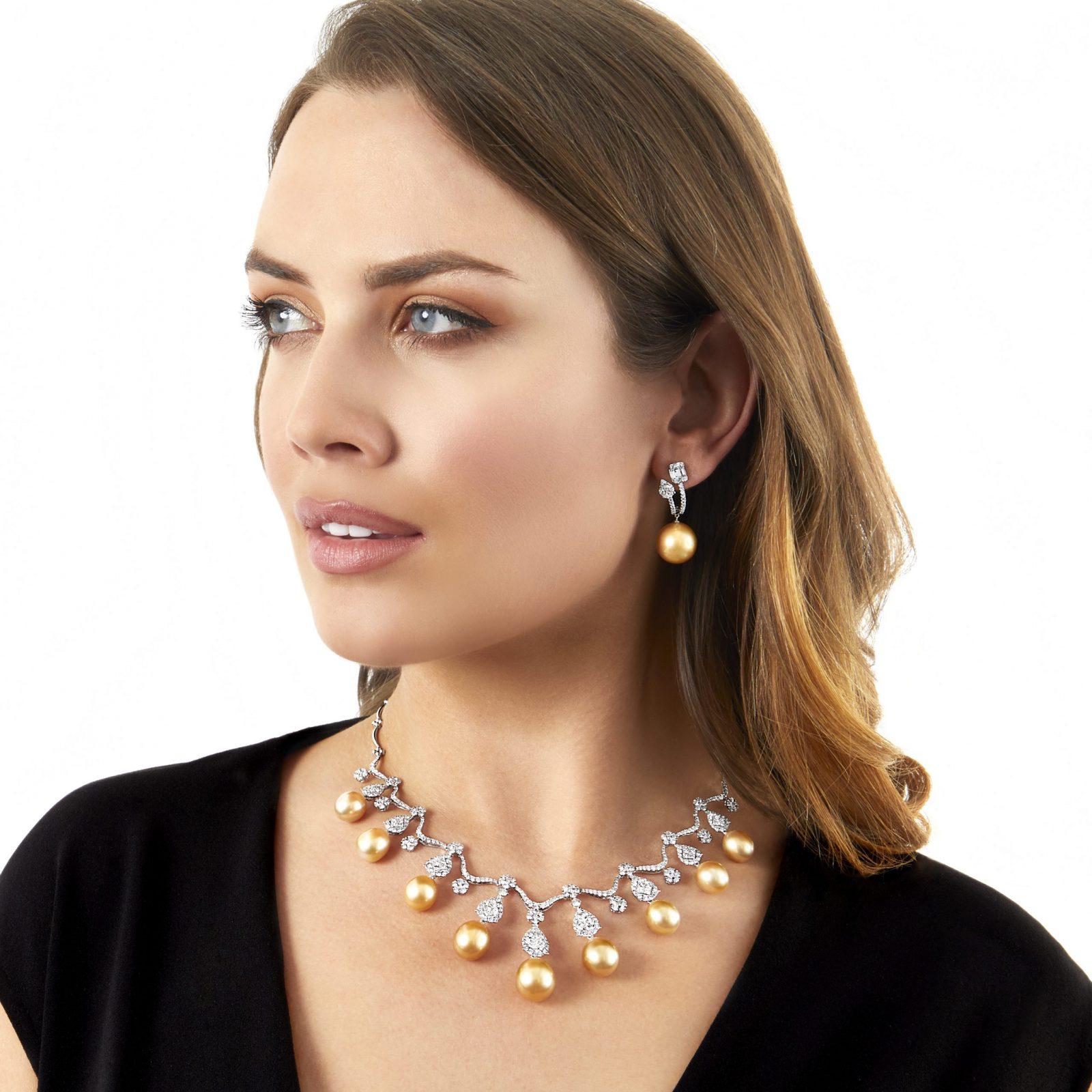 Yoko London Ember Golden South Sea Pearl and Diamond Necklace