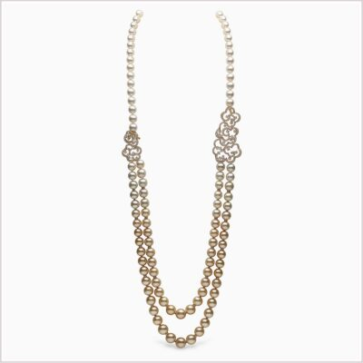 Yoko London Aurelia Diamonds, South Sea Pearl and Golden South Sea Pearl Necklace