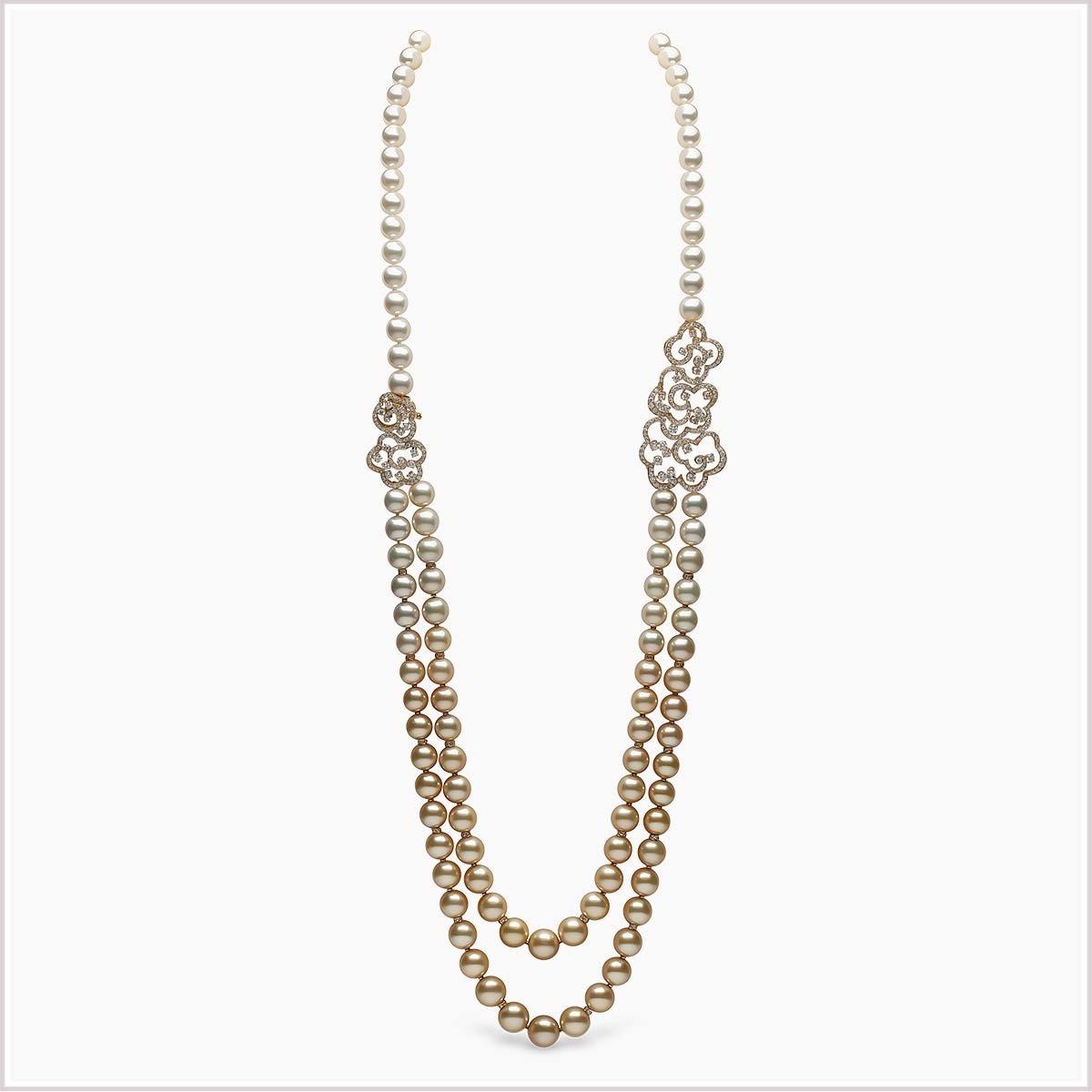 Yoko London Aurelia Diamonds, South Sea Pearl and Golden South Sea Pearl Necklace