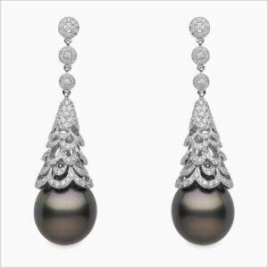 Yoko London Twilight Diamond and Tahitian Pearl Earrings