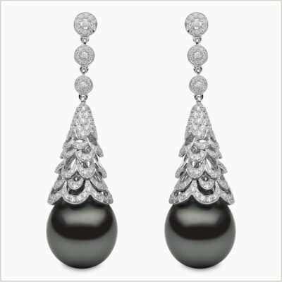 Yoko London Twilight Diamond and Tahitian Pearl Earrings