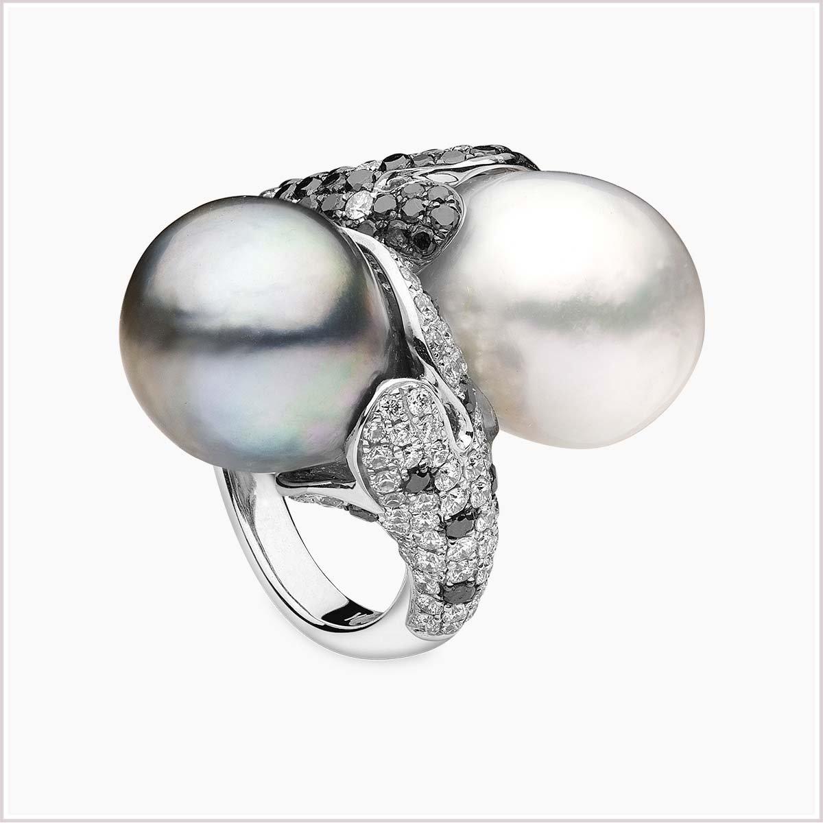 Yoko London Twilight Diamond, South Sea Pearl and Tahitian Pearl Ring