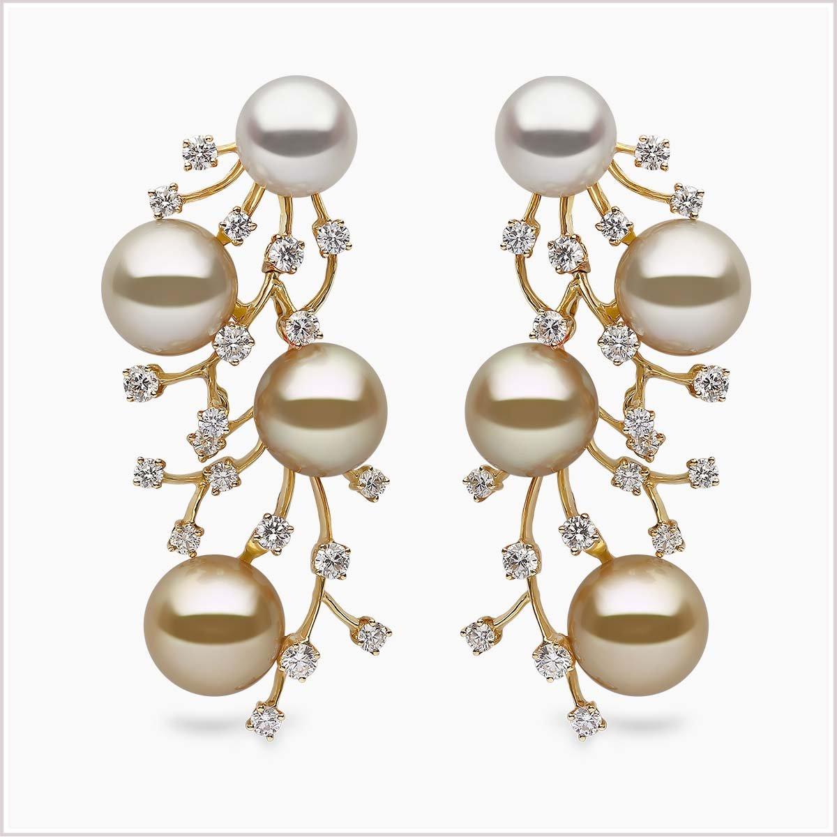 Yoko London Aurelia Diamond, South Sea Pearl and Golden South Sea Pearl Earrings