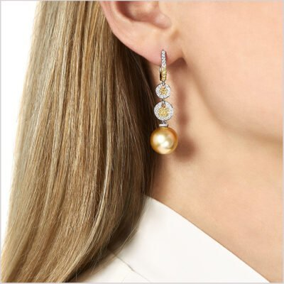 Yoko London Aurelia Diamond, Yellow Diamond and Golden South Sea Pearl Earrings