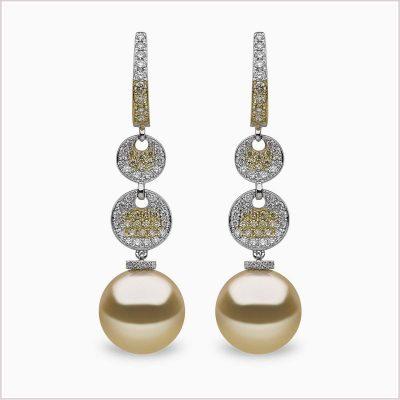 Yoko London Aurelia Diamond, Yellow Diamond and Golden South Sea Pearl Earrings