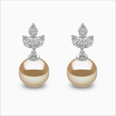 Yoko London Petal Diamond and Golden South Sea Pearl Earrings