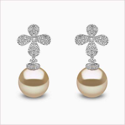 Yoko London Petal Diamond and Golden South Sea Pearl Earrings