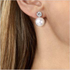 Yoko London Starlight South Sea Pearl and Diamond Earrings (removable pearl)