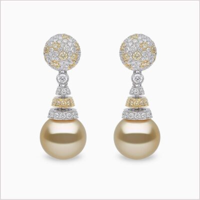 Yoko London Aurelia Yellow Diamond, Diamond and Golden South Sea Pearl Earrings