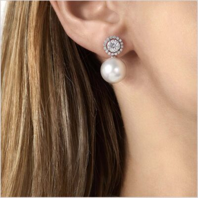 Yoko London Starlight Diamond and South Sea Pearl Earrings