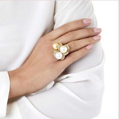 Yoko London Aurelia Diamond, South Sea Pearl and Golden South Sea Pearl Ring