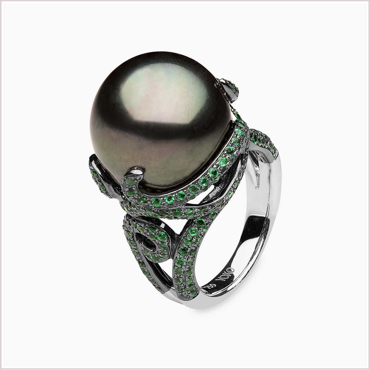 Yoko London Twilight Emerald and Tahitian Pearl Ring