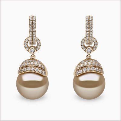 Yoko London Aurelia Yellow Diamond, Diamond and Golden South Sea Pearl Earrings