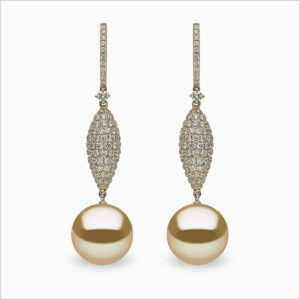 Yoko London Aurelia Diamond and Golden South Sea Pearl Earrings